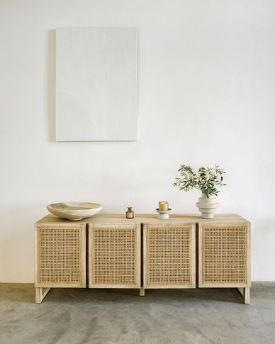 Rexit solid mindi wood and veneer unit with rattan 180 x 70 cm
