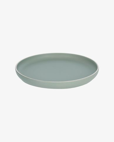 Shun flat plate in green porcelain