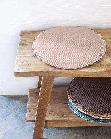 Sora round corduroy chair cushion in pink, 35 cm