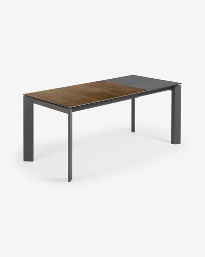 Extendable table Axis 120 (180) cm porcelain Iron Corten finish anthracite legs