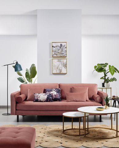 Kussenhoes Lita 30 x 50 cm fluweel roze