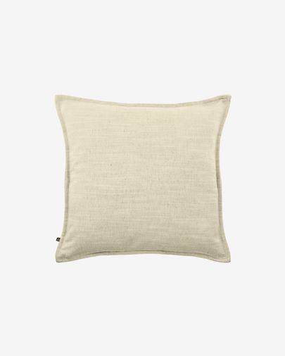 Blok linen cushion cover in white, 45 x 45 cm