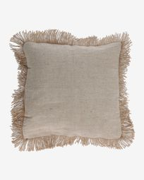 Delcie cushion cover in beige with jute fringe 60 x 60 cm