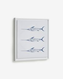 Lavinia picture with 3 blue swordfish 30 x 40 cm