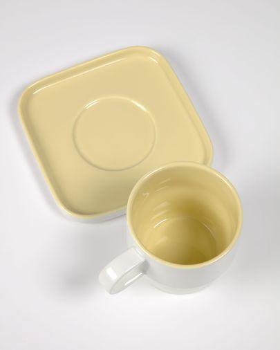 Taza con plato Midori cerámica amarillo