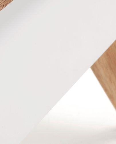 Mesita de noche Melan con lacado blanco y madera maciza de caucho 40 x 50 cm