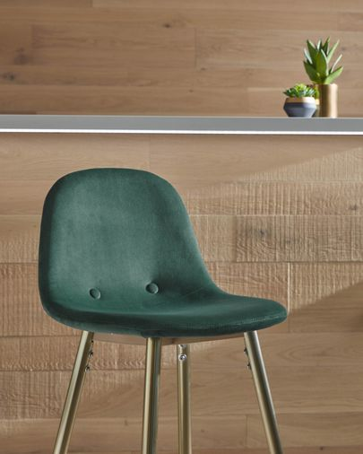 Green fabric Nolite barstool height 75 cm