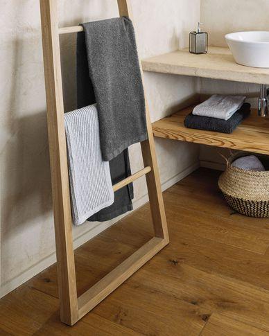 Miekki large bath towel dark grey