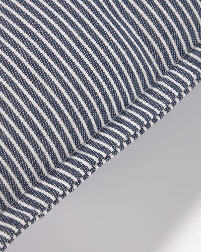 Funda coixí Aleria cotó ratlles blanc i blau 60 x 60 cm