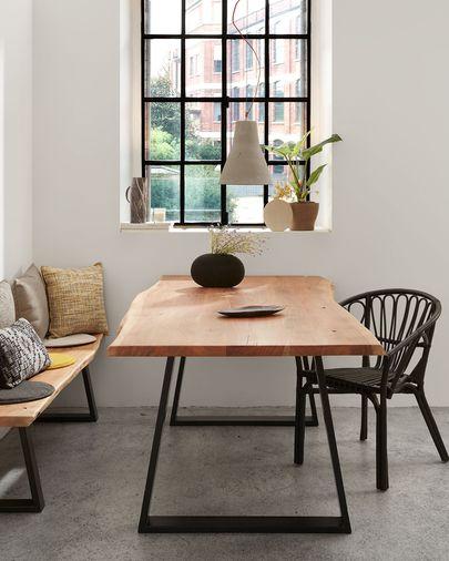 Mesa Alaia 180 x 90 cm madera maciza de acacia patas de acero acabado negro