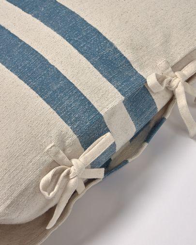 Funda coixí Ziza 100% cotó ratlles gruixudes blau i blanc 45 x 45 cm