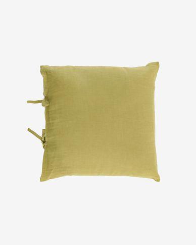 Tazu 100% linen cushion cover in green 45 x 45 cm