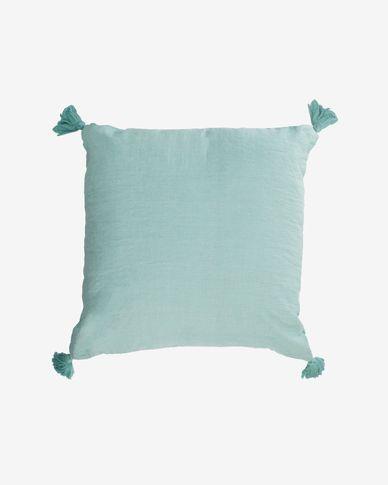 Poszewka na poduszkę Eirenne bawełna i len niebieska 45 x 45 cm