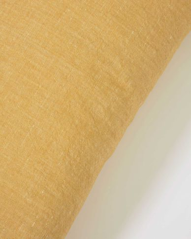 Eirenne cotton and linen cushion cover in mustard 45 x 45 cm