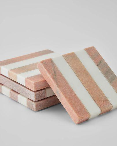 Set Jesiah de 4 posavasos mármol blanco y rosa