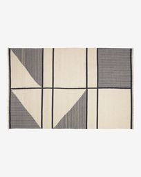 Vloerkleed Bernardine zwart-wit van wol 160 x 230 cm