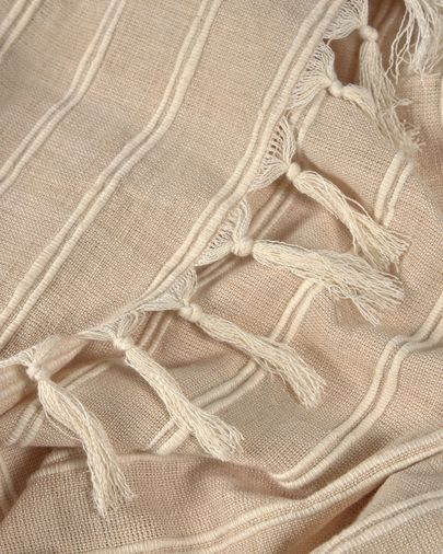 Sweeney 100% cotton blanket with beige and white stripes 170 x 130 cm