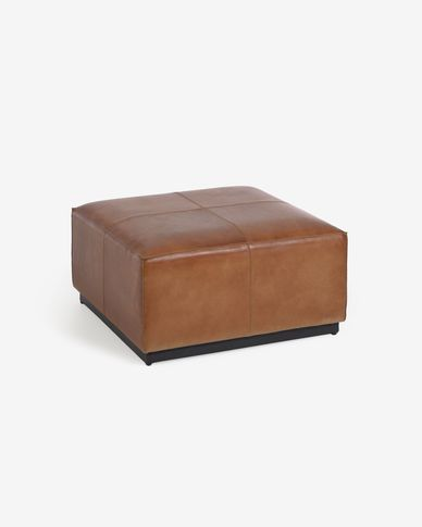 Cesia 70 x 70 cm brown buffalo hide pouffe with wooden base