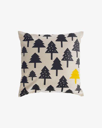 Saori Kissenbezug, kleine Bäume, 100% Bio-Baumwolle (GOTS), schwarz, 45 x 45 cm