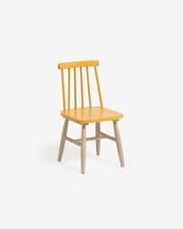 Chaise enfant Tressia bois d'hévéa massif avec finition jaune et naturelle