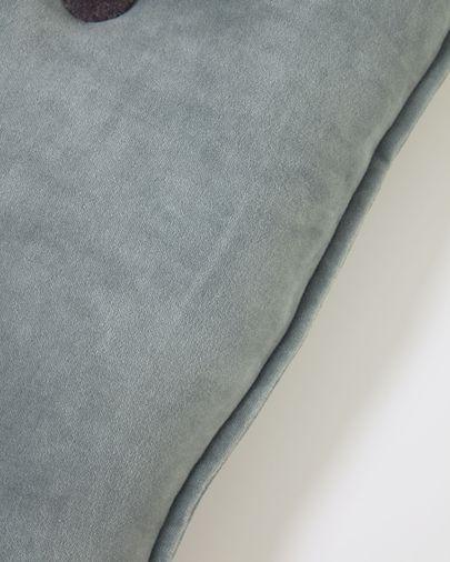Brunetta cushion in dark turquoise velvet 35 x 50 cm