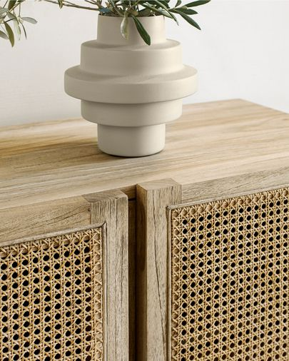 Aparador Rexit madera maciza y chapa mindi con ratán 180 x 70 cm