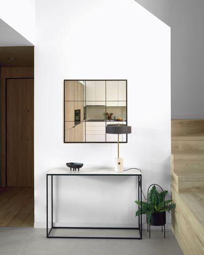 Espelho de parede Ulrica metal preto 80 x 80 cm