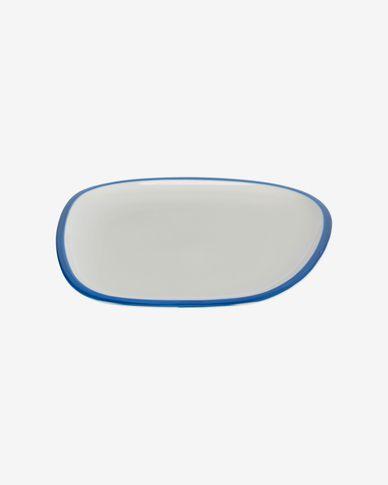 Piatto piano Odalin in porcellana bianca e blu