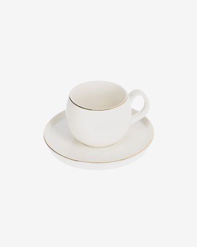Taisia Kaffeetasse mit Untertasse aus Porzellan weiß