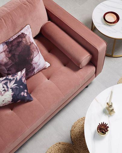 Pink velvet 2-seater Debra sofa 182 cm