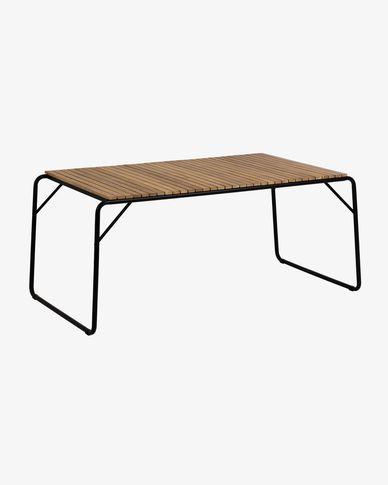 Mesa Yukari 165 x 90 cm de madera maciza de acacia efecto teca patas acero acabado negro