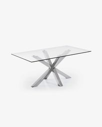 Mesa Argo 160 x 90 cm cristal patas de acero inoxidable