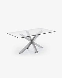 Argo tafel 160 cm glas roestvrij benen