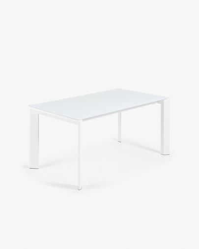 Mesa extensível Axis 160 (200) cm vidro branco pernas branco