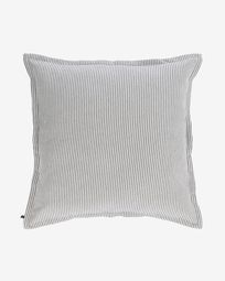 Aleria cotton cushion cover with grey and white stripes 60 x 60 cm