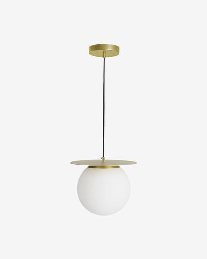 Lámpara de techo Manz de metal efecto latón y cristal glaseado
