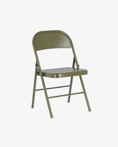Cadira plegable Aidana de metall verd fosc