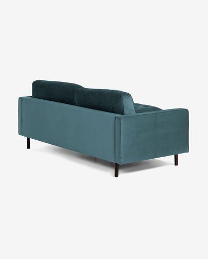 3-zitsbank Debra turkquoise velvet met voetenbank 222 cm