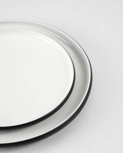 Plato de postre Sadashi de porcelana blanco y negro