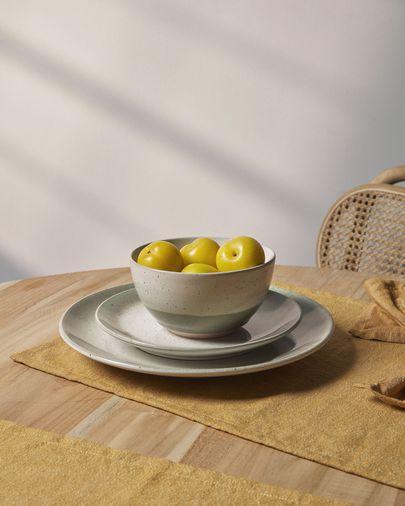 Elida flat ceramic plate in beige and green
