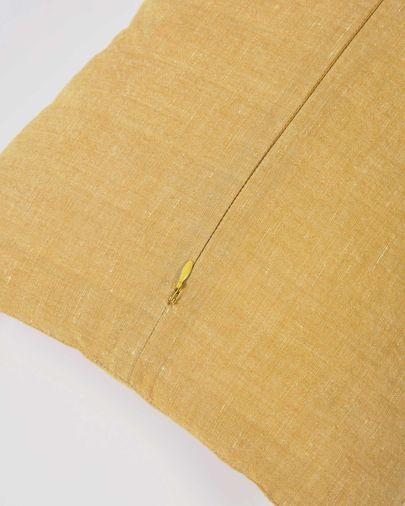 Funda cojín Eirenne de algodón y lino mostaza 45 x 45 cm