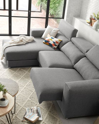 Atlanta 3-seater sofa with chaise longue in light grey 290 cm