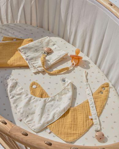 Lot 2 attache-tétines Yamile 100% coton bio (GOTS) moutarde beige et feuilles multicolores