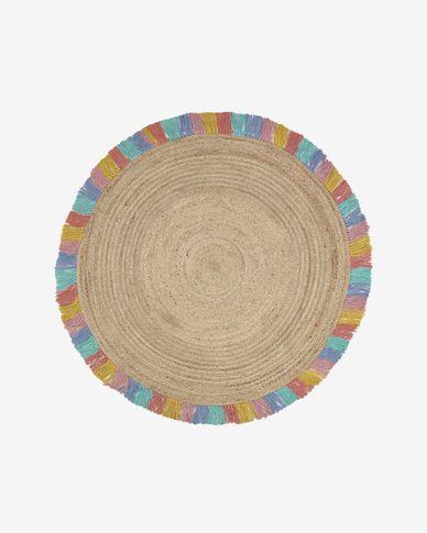 Vloerkleed Deisy rond van jute met multicolor franjes Ø 120 cm
