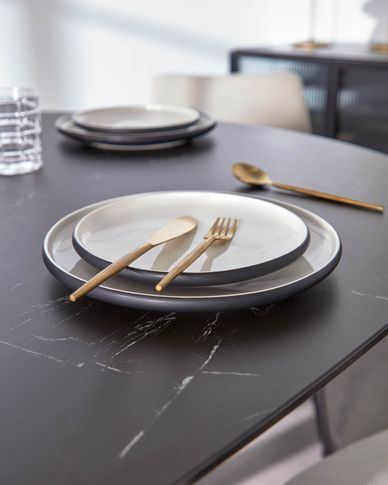 Sadashi porselein dessertbord zwart-wit