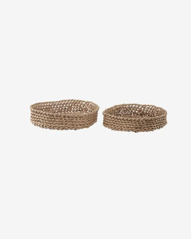 Evelina set of 2 round trays in 100% paper with natural finish