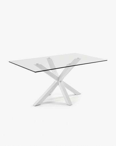 Argo Tisch 180 cm, Glas, weisse Tischbeine