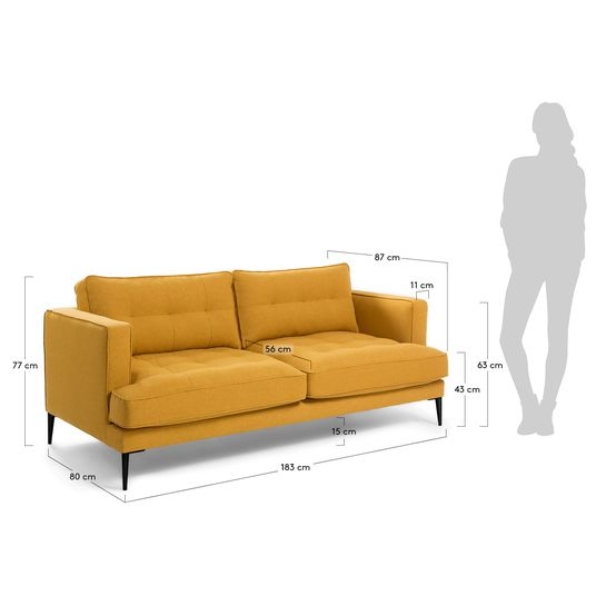 Tanya 2 Seater Sofa In Mustard 183 Cm, What Size Is A 2 Seater Sofa