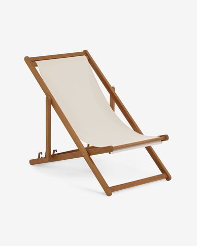 Adredna solid acacia outdoor deck chair in beige