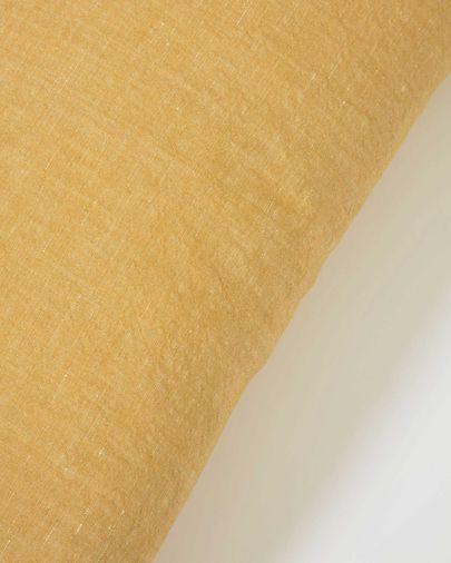 Funda cojín Eirenne de algodón y lino mostaza 30 x 50 cm